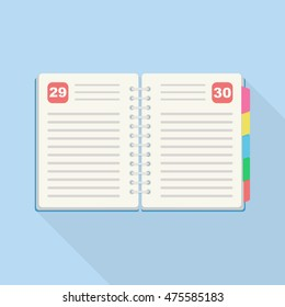 Notebook with bookmarks isolated on background. Reminder, diary page. Business planner. To do list, calendar, journal. Vector icon. Flat design