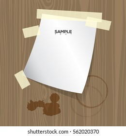 notebook and coffee stain on wood background vector image..