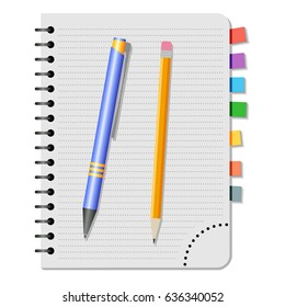 Notebook with colored bookmarks,  blue  pen and yellow pencil on a white background