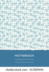 Notebook cover design with mathematical pattern. School and science themes. Vector background.