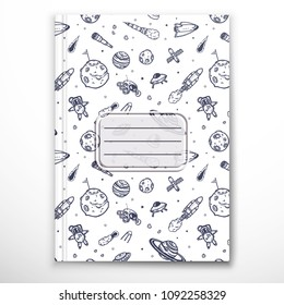 notebook cover template space handdrawn doodles stock vector