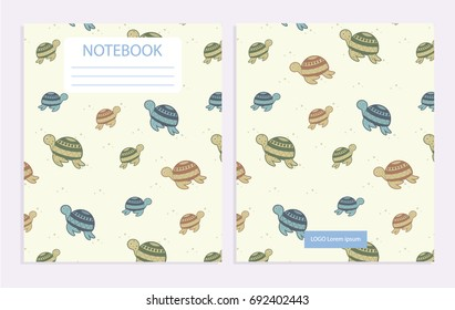 Notebook cover with turtle pattern