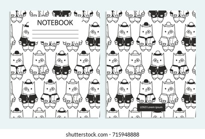Notebook with cute cartoon cats pattern
