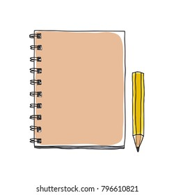notebook and cute pencil  hand drawn vector art illustration