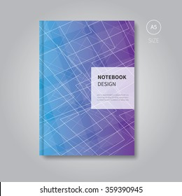 notebook design with abstract background for print / trendy scrapbook template