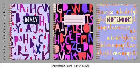 Notebook and diary cover design for print with seamless pattern on clipping mask included. For copybooks brochures and school books. Vector illustration stock vector.
