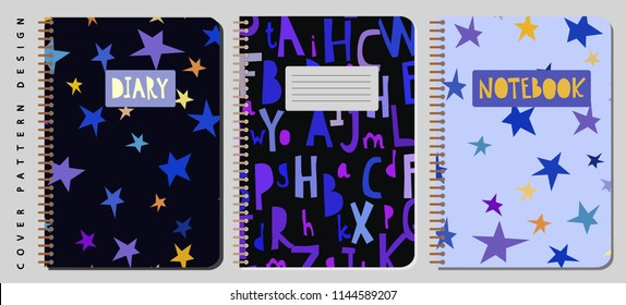 Notebook and diary cover design for print with pattern on clipping mask included. For copybooks brochures and school. Vector illustration stock vector.