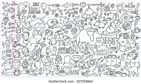 Notebook Doodle Clip art Design Elements Mega Vector Illustration Set