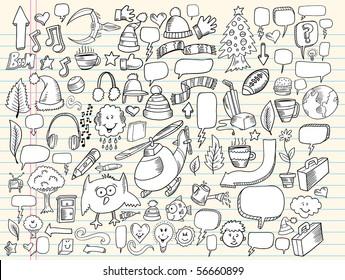 Notebook Doodle Clip art Design Elements Mega Vector Illustration Set