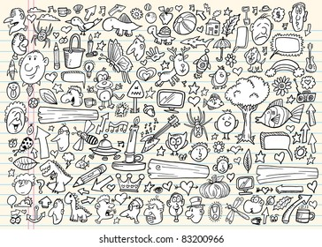 Notebook Doodle sketch Design Elements Vector Illustration Set with animals people signs  symbols and objects