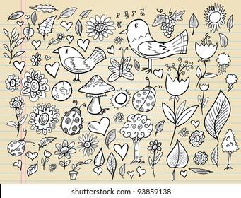 Notebook Doodle Spring Time Design Elements Mega Vector Illustration Set