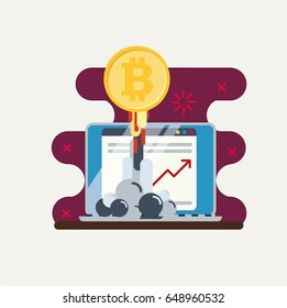 Notebook with golden bitcoin and growing chart. Flat vector illustration