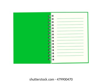 Notebook with green cover. Vector illustration.