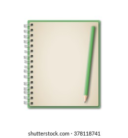 Notebook and green pencil vector