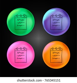 Notebook hand drawn interface tool crystal ball design icon in green - blue - pink and orange.