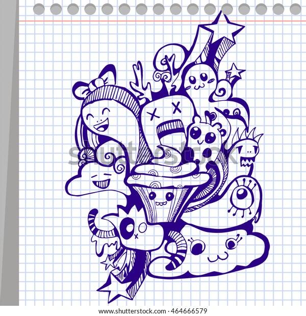 Notebook Holiday Doodle Illustration Ballpoint Pen Stock