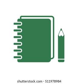 Notebook  icon.  Flat design.