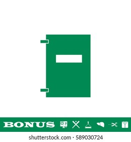 Notebook icon flat. Green pictogram on white background. Vector illustration symbol and bonus button