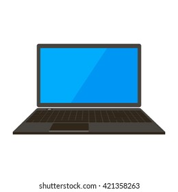 Notebook icon in a flat style. Open the laptop flat vector illustration isolated on white background