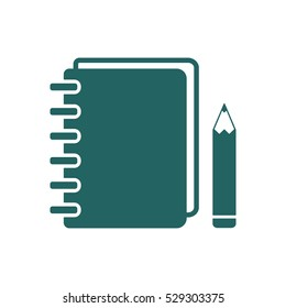 Notebook  icon, isolated  Flat design.