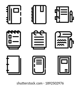 notebook icon or logo isolated sign symbol vector illustration - Collection of high quality black style vector icons