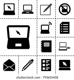 Notebook icons. set of 13 editable filled notebook icons such as no laptop, laptop, notepad, envelope, pen, checklist, paper and pen, paper