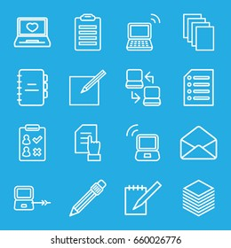 Notebook icons set. set of 16 notebook outline icons such as laptop connection, pointing on document, paper, laptop with heart, envelope, pen, notebook, paper and pen