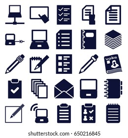 Notebook icons set. set of 25 notebook filled icons such as laptop connection, finger on tablet, pointing on document, paper, magazine, envelope, notebook, pen, checklist