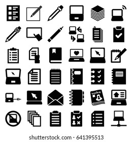 Notebook icons set. set of 36 notebook filled icons such as no laptop, laptop connection, pen, finger on tablet, pointing on document, paper, magazine, envelope, notebook