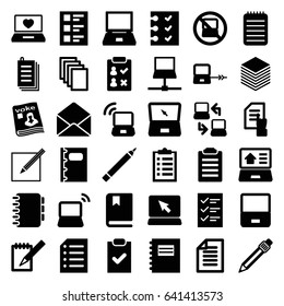 Notebook icons set. set of 36 notebook filled icons such as no laptop, laptop connection, pen, pointing on document, paper, magazine, envelope, notebook, checklist