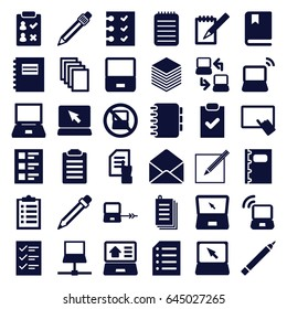 Notebook icons set. set of 36 notebook filled icons such as no laptop, laptop connection, pen, finger on tablet, pointing on document, paper, envelope, notebook, checklist