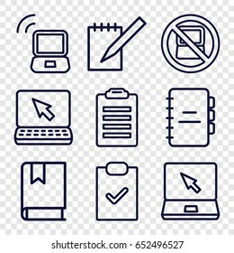 Notebook icons set. set of 9 notebook outline icons such as no laptop, laptop, notebook, book, laptop signal, check list