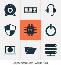Notebook Icons Set. Collection Of Dossier, Web, Broadcast And Other Elements. Also Includes Symbols Such As Earphone, Microphone, Database.