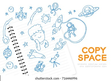"Notebook with kid boy hand drawing set, Imagine of Future Occupation ""Astronaut"" concept idea illustration isolated on white background, with copy space"