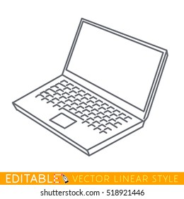 Notebook laptop icon. Editable outline sketch. Stock vector illustration.