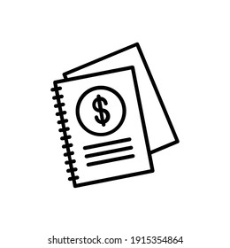 Notebook Line Icon Isolated On White Background