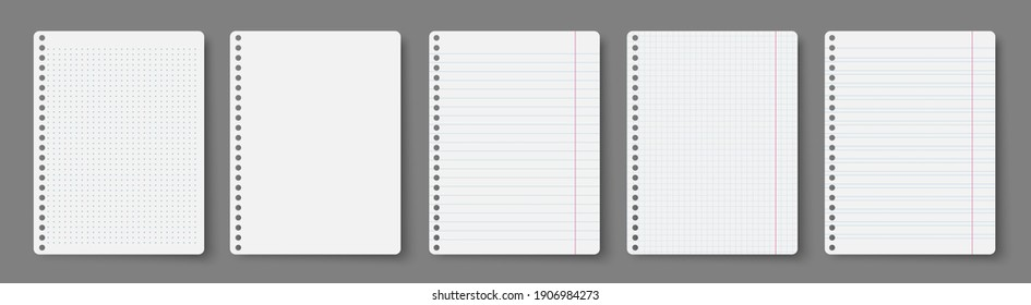 Notebook line squared dot. Diary template. Notepad empty page set. Vector blank white list mock up