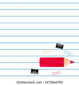 Notebook lined grid paper note, red pencil with quote Welcome back to school, and school suplies copy space place text background, vector illustration. Banner template