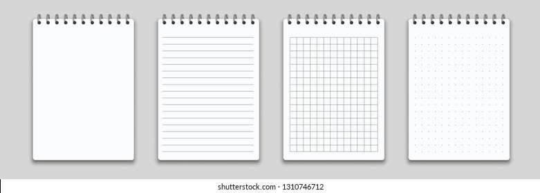 Notebook or memo notepad with binder. Vector note pad or diary with lined and squared paper page template