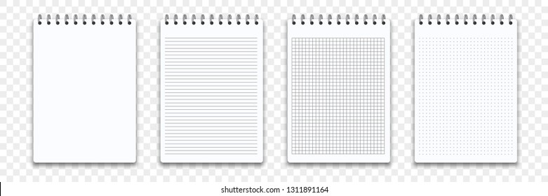Notebook memo notepad templates. Vector note pad or diary line and square paper page with binder