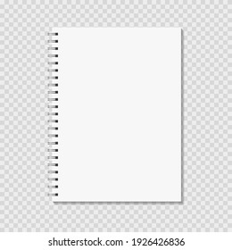 Notebook mock up on transparent background. Blank pages, copybook with metal spiral template. Realistic closed notepad vector illustration.