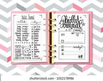 Notebook mock up. Line doodles. Days of week calligraphy and bullet journal elements set on the pages of an opened notebook. Lettering for diary and bullet journal.