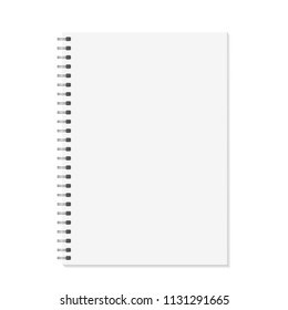 Notebook mock up. Open book with metal spiral template. Isolated on white background. A4 bound pages. Vector illustration.