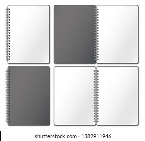 Notebook mockup. Empty copybook, notebooks pages binded on metal spiral and open bound sketchbook realistic 3d vector illustration