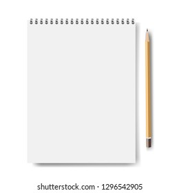 Notebook Mockup Isolated With Pencil With Gradient Mesh, Vector Illustration
