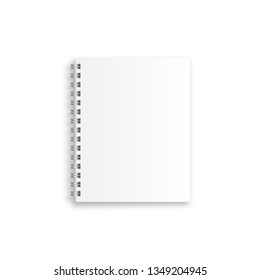 Notebook mockup, with place for your image. Blank realistic spiral notepad, notebook isolated on white background. Vector illustration.