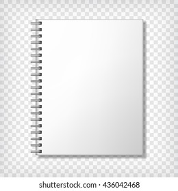 Notebook mockup, with place for your image, text or corporate identity details. Blank mock up with shadow. Vector illustration.