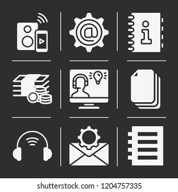 Notebook, money, stack, speaker, headset, email, agenda icon set suitable for info graphics, websites and print media and interfaces