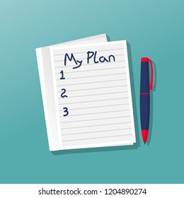 Notebook with my plan. Personal planning. Motivation, goals in life. Vector illustration flat design. Isolated on background. Notepadpad template. Blank notebook with a list. Scratchpad blank.