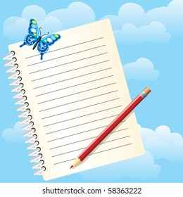Notebook for notes and butterfly against a background of blue sky